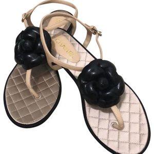Chanel T Strap CC Camelia Sandals